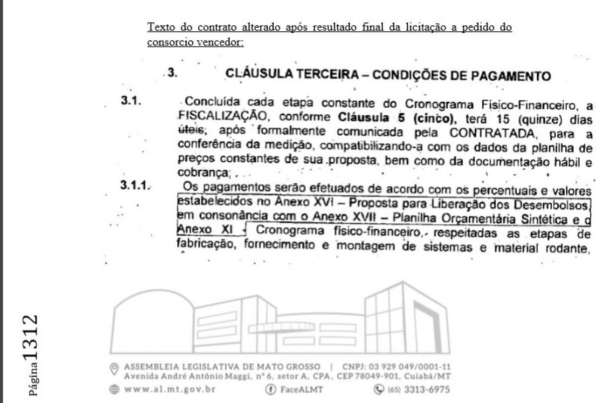 Contrato do VLT foi alterado depois da licitação -