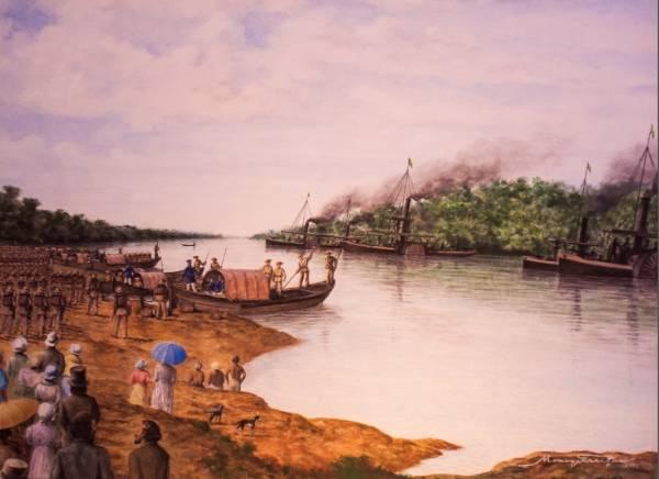 Pintura Partida para Corumbá na Guerra do Paraguai