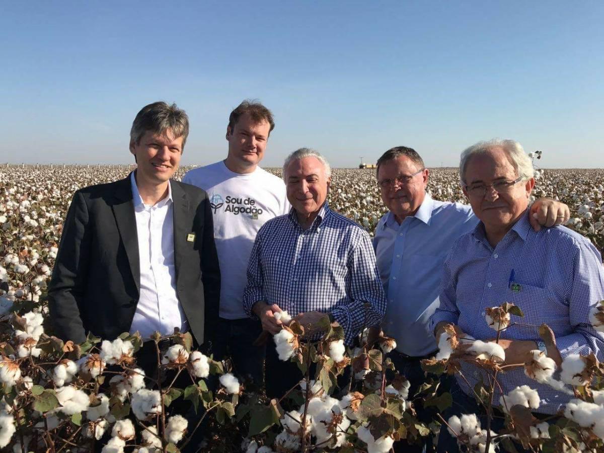 Presidente Michel Temer visita lavoura de algodão em Lucas do Rio Verde,  ao lado do ministro Blairo, dos presidentes da Ampa, Alexandre Schenkel e da Aprosoja, Endrigo Dalcin - Assessoria