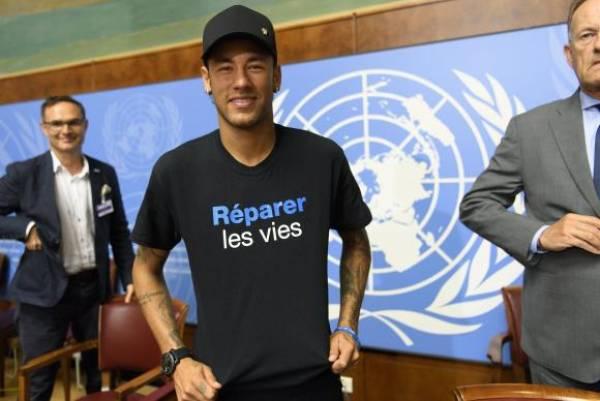 Neymar Jr. durante sua apresentação como Embaixador da Boa Vontade