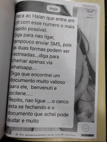 Mensagens anônimas de WhatsApp enviadas a Hallan Gonçalves, da Faespe