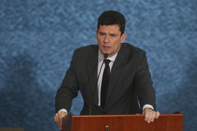 O ministro da Justiça e Segurança Pública, Sergio Moro, participa do lançamento da campanha publicitária do Projeto Anticrime, do governo federal